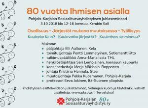 80 vuotta Ihmisen asialla – yhdistyksen juhlaseminaari 3.10