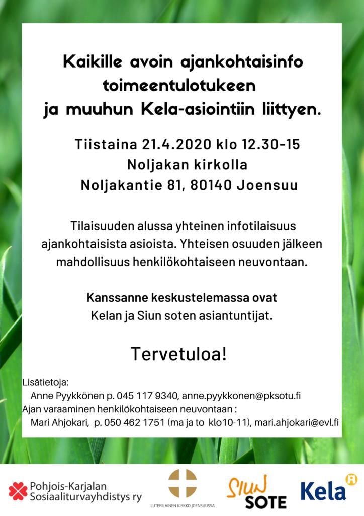 Toimeentulotuen ja muun Kela-asioinnin infotilaisuus Noljakan kirkolla 21.4.2020 klo 12.30-15.