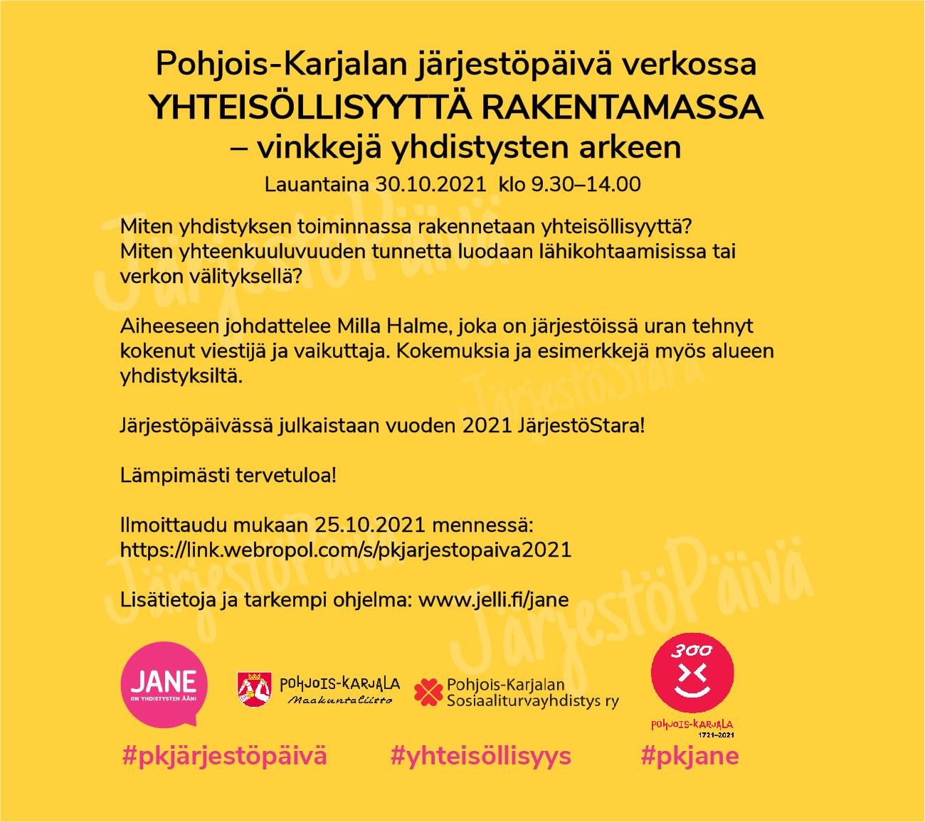 Yhteisöllisyyttä rakentamassa - Pohjois-Karjalan Järjestöpäivän 31.10 tilaisuuden mainos.